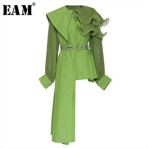 [EAM] Women Ruffles Pleated Irregular Big Size Blouse New Lapel Long Sleeve Loose Fit Shirt Fashion Spring Summer 2020 1U856