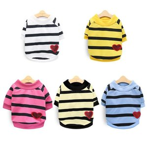 Pet Clothes Small Dogs Stripe Heart Shirt Puppy Cat Coat Causal Unisex Pet Clothing Supplies 5 Designs YG1014