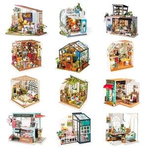 Robotime DIY Ahşap Minyatür Dollhouse 1:24 El Yapımı Bebek Evi Modeli Yapı Kitleri Oyuncaklar Çocuklar için Yetişkin Drop Shipping Y200413