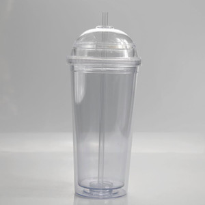 20oz new acrylic cups clear drinking tumblers with transparent straw and dome lid Double wall Large capacity plastic bottle sea ship HWD3157