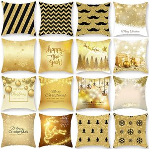 1Pcs Golden Christmas Snow Pattern Cushion Cover Polyester 45*45cm Decorative Pillowcase New Year Sofa Home PillowCover 40996