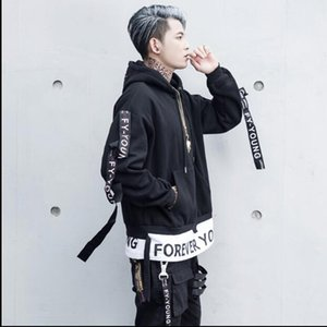 Letter Print Men Denim Jackets Autumn Harajuku 2020 Hip Hop Front Pocket Coats Fashion Streetwear Loose Pullover