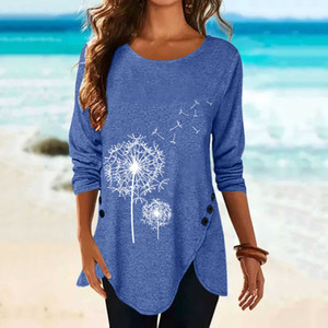 40#plus Size Shirts Women Long Sleeve 3d Dandelion Printed Button Elegant O-neck Tops Tee Shirt Pullover Blouses