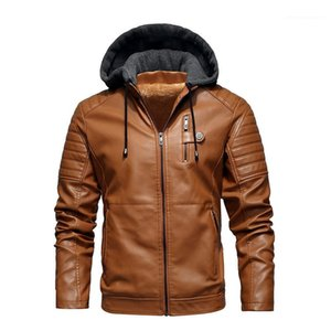 Hooded Biker Coats Loose Fashion Casual Male Clothing Autumn Winter New PU Jacket Teenagers Panelled Thick