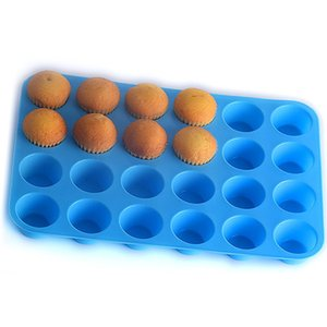 24 Hole Muffin Cup Mold Silicone Cake Cookies Jelly Biscuit Baking Tray Cake Cup Baking Mold Mixed Color Send EEF3611