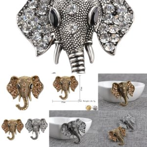 2Nptm Shape Vivid Color Elephant Blucome Little Shinestones Elephant Gold Brooch Copper Animale Brooch Creatività Gioielli per le donne Diamond