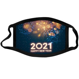 Mutlu Yeni Yıl Tasarımcı Yüz Maskesi Chrismas Parti Maskeleri Yıkanabilir Kullanımlık Yüz Maskesi Dijital Baskılı Koruma Pamuk Maskeleri FWF3406