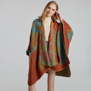 Ladies Scarf Shawl Creative New Fashion Imitation Cashmere Jacquard Split Thick Large Cloak Air Conditioning Warm Shawl
