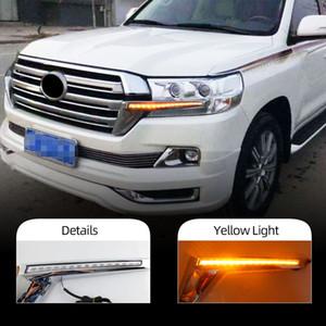2 adet Ön Izgara LED Dinamik Dönüş Sinyal Işık Gündüz Çalışan Işıklar Toyota Land Cruiser 200 FJ200 LC200 2016 - 2019