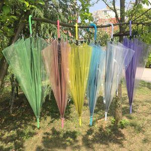 Paraguas de la manija claro transparente paraguas danza rendimiento a largo colorida sombrilla de playa para los hombres mujeres niños Paraguas FWD2949