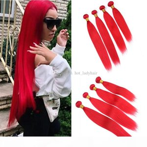 Virgin Indian Red Human Hair Teje 4pcs Lot Sedky Sily Straight Red Red Hair Trows Extensions Extensions 400g Lot Long Longitud