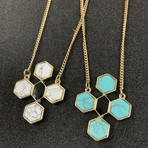 Fashion White green Turquoise stone Hexagon Cross Pendant Necklace Gold Metal Long Chain Sweater Statement Necklace for women jewelry