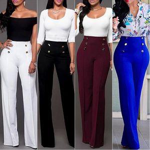2020 Autumn New Women Wide Leg Pants High Waist Full Length Office Lady Business Clothes Loose Pants Women Trousers