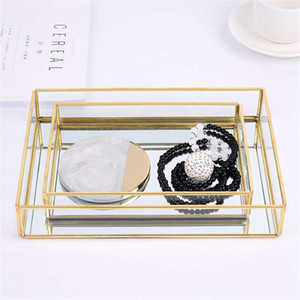 Nordic Retro Storage Tray Gold Rectangle Glass Makeup Organizer Tray Dessert Plate Jewelry Display Home Kitchen Decor