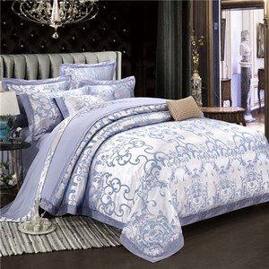Biancheria da letto di lusso Set di biancheria da letto di lusso Golden Jacquard 60s in cotone King Queen Size Letto Lace Set Set di pizzo Satin Duvet Cover Linen Pillow Pedesheet Tessile per la casa