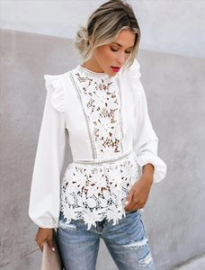 Newest Arrivals Women Lace Hollow Blouses Ruffles Fly Sleeve O Neck Flowers White Shirts Lace Patchwork Shirts Tops Outfits