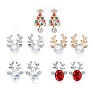 1Pair Women Xmas Gift Elegant Jewelry Christmas Pearl Deer Earrings Reindeer Ear Stud