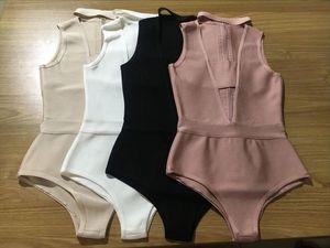 High quality fashion inside womens 2020 new bandage sexy black beige khaki white four piece jumpsuit wholesale retail HL