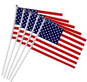 14 * 21 سنتيمتر موجة العلم الولايات المتحدة الأمريكية اليد الأمريكية عقد صغيرة مصغرة العلم الولايات المتحدة الأمريكية مهرجان الإمدادات الحزب العلمي العلم DHF490