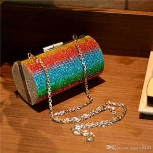 Pink sugao crystal Luxury Rainbows cylinder evening bag shoulder bag Bling party purse Fashion women wedding Day clutch bag