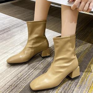 Woman Square Toe Ankle Boots Elegant Women's Leather Fashion Zipper Pump Women Casual Short Boot Ladies Thick Heels Autumn Shoes