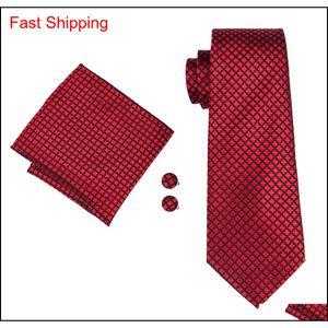 Red Silk Ties For Wholesale Men Plaid And Checks Necktie Handkerchief Cufflinks Gift Set For Wedding Pa qylddE beauty888