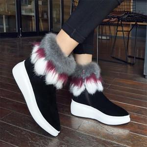 Nayiduyun mulheres sapatos de couro genuíno plataforma de salto alto montando botas pontiagudas de pé bombas de pele de inverno tênis de inverno