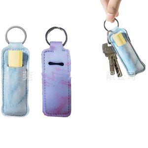 Fashion Lipstick Holders Keyrings Marble Design Neoprene Pocket Lip Covers Keychains Mini Chapstick Sleeves Key Holder Party Gift 1 68ny E19