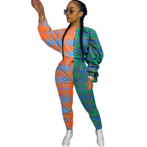 2021 Patchwork Plaid Set Streetwear Streetwear Outfits Casual Ropa de otoño para mujer Sudadera Top Sweetpants Traje