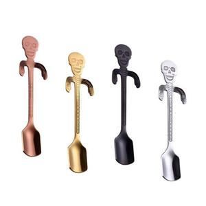 Stainless Steel Skull Sugar Spoon Tea and Coffee Stirring Spoon Creative Hanging Cup Skeleton Coffee Mixing Spoons