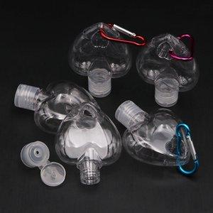 Cuore a forma di cuore 50ml Gancio Bottiglia Portatile Plastica Distributore Vuoto Anello Vuoto Bottiglia Tasto Viaggio Sanitizer Bottle Gancio portachiavi portachiavi GWA2682