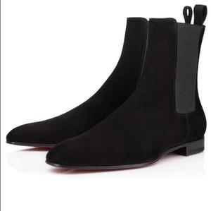 Diseñador de lujo Hombres Botas de tobillo Red Bottom Roadie Flats Gentleman Botines Hombre Moda Caballero Booty Famosa Fiesta Boda EU38-47