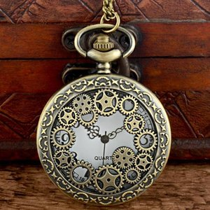 Relojes de bolsillo Classic Vintage Bronce Steampunk Gear Reloj de cuarzo con cadena retro hombres mujeres punk colgante collar reloj regalo1