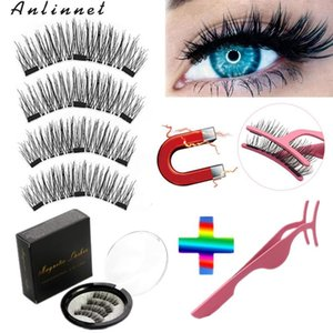 2 pairs 4 pieces 3 magnet false eyelashes natural magnetic eyelashes 3D false makeup eyelash tools wholesale
