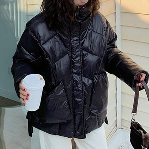 Fashion Women Down Jacket 2020 New Casual Cotton Padded Korean Hoodless Pure Color College Preppy Simple Style Winter Overcoat