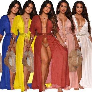 Felyn 2020 Nova Chegada Vestido Sólido Bordado Bordado Summer Beach Outwear Maxi Vestido Vestidos1