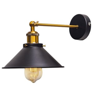ZhaoKe Black Color Loft Industrial Wall Lamps Vintage Bedside Wall Light Metal Lampshade E27 Edison Bulbs 110V 220V