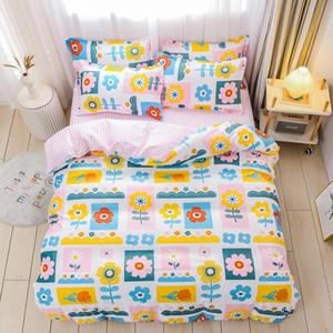 لون الزهور doodle المنسوجات المنزلية مجموعة الفراش السرير ورقة غطاء لحاف مجموعة 2/3/4/5 قطع