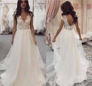 Sexy V Neck Boho Wedding Dresses Cap Sleeves Open Back Vestidos De Novia 2021 Country Lace Satin A Line Sweep Train Bridal Gowns AL7859