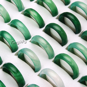 Yingwu 50pcs Wholesale Natural Green Agate Jade Ring Woman Man's Lucky Stone Rings 7-9# Charm Gift Jewelry Z1202