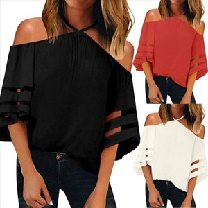 Women Sexy Blusas Halter Chiffon Blouse Celmia Off Shoulder Spring Summer Casual Half Sleeve Solid Club Party Plus Size Top YJ