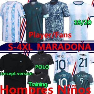 Maradona 아르헨티나 플레이어 팬 축구 유니폼 2020 2021 Camisetas Polo Messi Dybala Dimaria Aguero Lautaro 남자 키트 축구 셔츠 바지