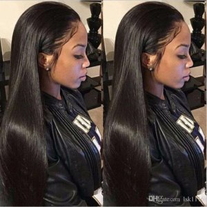 Stylish European and American wigs with bangs and lace wigs women with black long straight hair and chemical fiber headwea