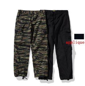 20ss Pocket Applique Badge Track Pants Men Women Elastic Bottom Long Casual Cargo Trousers Hip Hop Streetwear Pant Homme Size S-XL