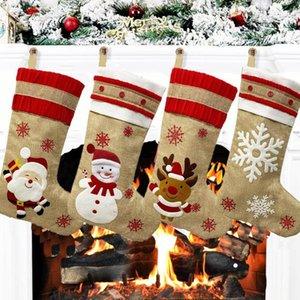 25# Fashion Christmas Socks Gift Bag Christmas Pattern Decoration Goodybag Cloth Drawstring Pouch Kids Gift Bag