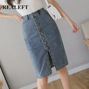 REALEFT Spring Autumn 2020 New Denim Sheath Wrap Skirts Single-Breasted High Waist Pencil Midi Skirt Front Split Skirts Womens Q1117