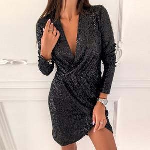 Elsvios Sexy Deep V Neck Sequin Dress Elegant Women Sliver Glitter Bodycon Party Dress Autumn Long Sleeve Nightclub Mini Dresses