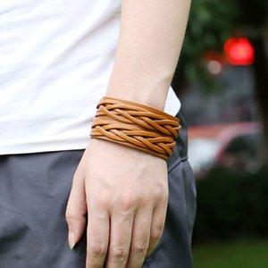 Luxury Bracelets For Women Men Punk Wide Leather Multi-layer Weave Bracelet Fashion Bangles Jewelry Accessories