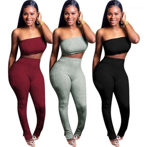 Pencil Pants Suits Sports Style Solid Color Suits Womens 2 Piece Outfits Summer Womens Designer Fashion Sexy Short Tops High Waist
