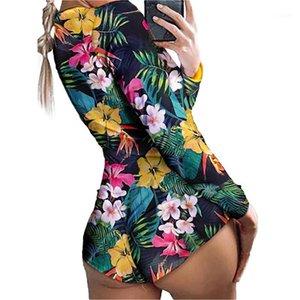 Mujeres Sexy Romper Pijamas Casual Profundo Cuello Cuello de manga larga One Piece Body Clothing